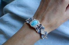 Macrame bracelet larimar bracelet macrame by EarthCraftHandmade