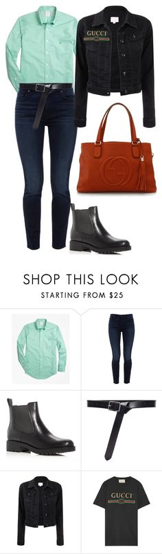 """10"" by pollidolgyshina on Polyvore featuring мода, Brooks Brothers, Jen7, Cole Haan, Frame и Gucci"