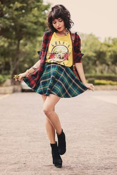 Grunge outfit #1: Skirt, graphic tees, Plaid shirt, Block heel Ankle Bootsaids