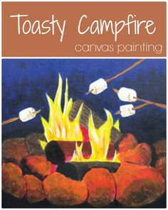 Nothing says outdoors like roasting marshmallows over a campfire. Can you taste the s'mores? S'mores and hot chocolate would be a perfect snack to serve while your students paint this design. Go all out with a camping theme for the evening! Fall Canvas Painting, Canvas Paintings, Painting For Kids, Canvas Art, Social Artworking, Roasting Marshmallows, Art Camp, Camping Theme, Paint Party