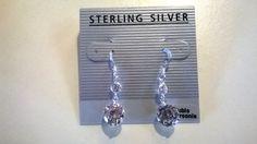 Sterling Silver Clear Cubic Zirconia Dangle Earrings Fish-Hook Backing  #DropDangle