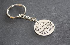 Love You To The Moon and Back Keyring Keyring Gift Handstamped Keyring Personalised Keyring Keychain Love You