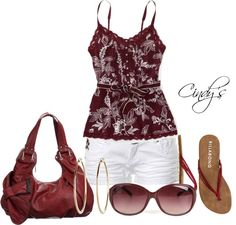 """""""Ruffled Floral Henley Cami"""" by cindycook10 on Polyvore"""