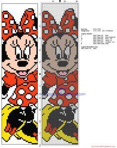 Cross stitch children bookmark with Disney Minnie Mouse - free cross stitch patterns simple unique alphabets baby Cross Stitch Books, Cross Stitch Bookmarks, Cross Stitch Charts, Disney Bookmarks, Bookmarks Kids, Disney Stitch, Disney Cross Stitch Patterns, Cross Stitch Designs, Cross Stitching