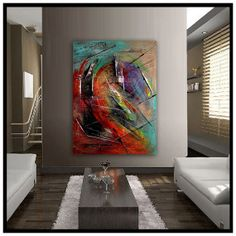 LARGE PAINTING Original PAINTING red abstract by largeartwork, $480.00