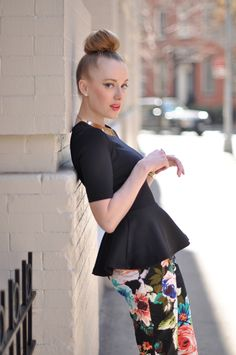 floral pants and a peplum: two huge spring looks in one outfit