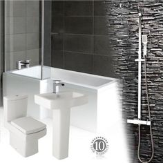 Complete Bathroom Suite L Shape ShowerBath Toilet & Sink Shower & Waterfall Taps ✔1700,1600,1500 mm Bath ✔High Quality Taps and Shower. #ad