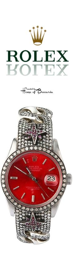 Loree Rodkin vintage Rolex // I like the red face but the band is horrendous! Luxury Watches, Rolex Watches, Vintage Rolex, G Shock, Beautiful Watches, Cool Watches, Guess Watches, Unusual Watches, Diamond Are A Girls Best Friend