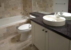 black granite bathroom vanity countertop with rectangle white