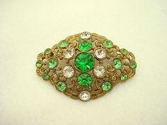 Vintage brooch with bright green/crystal rhinestones on Ruby Lane