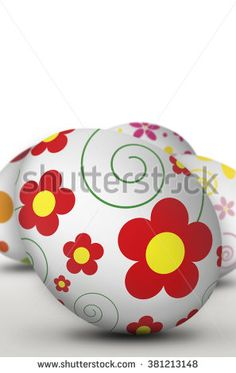 easter eggs on white background [Blur and Select focus background]
