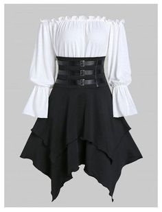 Buckle Strap Lace-up Layered Handkerchief Skirt with Poet Sleeve Bardot Top #anime #clothes #female #casual #animeclothesfemalecasual Teen Fashion Outfits, Mode Outfits, Fashion Dresses, Skirt Outfits, Handkerchief Skirt, Gothic Dress, Two Piece Dress, Mode Vintage, Classy Dress