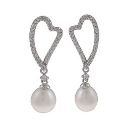 Kabella Sterling Silver FW Pearl and Cubic Zirconia Heart Earrings