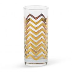 gold chevron high ball glasses