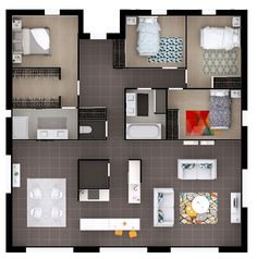 The ground floor plan is split in two: an area facing the street for . The Plan, How To Plan, Design Room, House Design, Ground Floor Plan, Sims House, Home Design Plans, House Layouts, Small House Plans