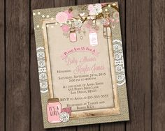 Girl Baby Shower Invitation Rustic Burlap Mason Jar Tree Branch Pink Tan Floral Fairy Light Lace Printable Digital I Customize For You by MintedPress on Etsy https://www.etsy.com/listing/261590271/girl-baby-shower-invitation-rustic