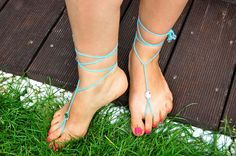 Blue Beach Wedding Barefoot Sandals with Crystals by Kreacje