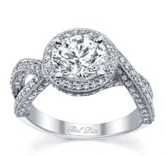Split Shank Halo Engagement Ring with Mobius Twist. @Celebstylewed