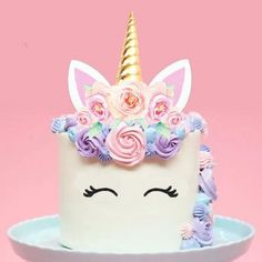 Diy Cake Topper, Cake Toppers, Unicorn Themed Birthday, Unicorn Party, Unicorn Cale, Diy Unicorn Cake, Butterfly Birthday Cakes, Savoury Cake, Mini Cakes