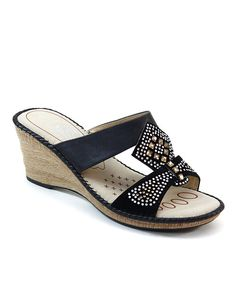 Take a look at the Black Rhinestone Embellished Sandal on #zulily today!