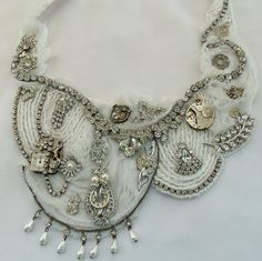 White wedding bib necklace, Steampunk rhinestone, vintage watch workings n pearl, OOAK stunning Statement bridal necklace
