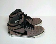 Nike Canvas Denim Hi Top Men's 8 Vintage Pink Grey Black Shoes 2012  504614-010  #Nike #BasketballShoes