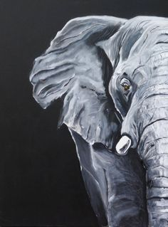 Now Sale 20 Elephant Africa Black And White Painting Acrylic Canvas Jungle Face Grey Gray Portrait Art Animal By Beate Frieling - Painting Black Canvas Paintings, Simple Acrylic Paintings, Animal Paintings, Elephant Paintings, Black Canvas Art, Canvas Canvas, Elephant Canvas Art, Tableau Pop Art, Afrique Art