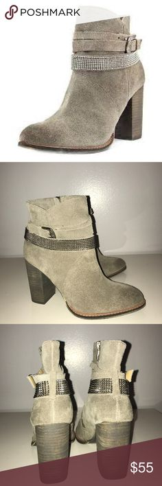 "NWOT Nine West Zaza booties size 6.5 M Nine West Zaza booties size 6.5 M. Brown suede, stacked 3.5"" heel, inside zipper, band with metal grommets. Brand new. Man made materials. nine west Shoes Ankle Boots & Booties"
