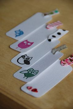 Handmade bookmarks! Awkward Owls, leaping fish, and eyelet hearts.  Shop: PaperExploitsShop.wordpress.com Blog: PaperExploits.wordpress.com