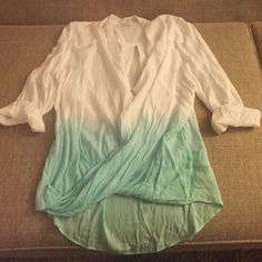 Alythea white and turquoise blouse Great beachy top, white blouse with turquoise ombré look Alythea Tops Blouses