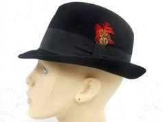 Vintage Executive Fedora Black Felt Hat Size 6 Small 2154952fedb6