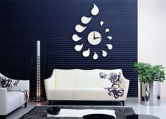 DIY Wall Clock Modern Drop Design Home Decor Mirror Sticker Art Decals LJN #WHATWEARS #Modern