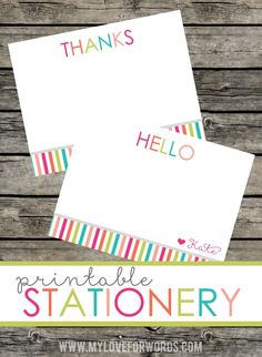 Love this happy and cheerful printable stationery set!  The bright colors will make anyone happy to write or receive a note.