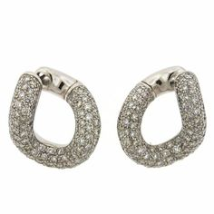 Pomellato Gourmette Gold Diamond Twisted Hoop Earrings