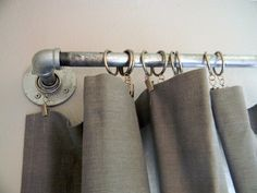 schue love: DIY West Elm Curtain Rod & Striped Curtains - Another! Rustic Curtain Rods, Outdoor Curtain Rods, Industrial Curtain Rod, Brass Curtain Rods, Decorative Curtain Rods, Window Curtain Rods, Outdoor Curtains, Curtain Hardware, Curtain Rails
