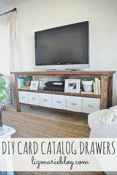 DIY card catalog drawers - lizmarieblog.com After we make the entertainment center, of course