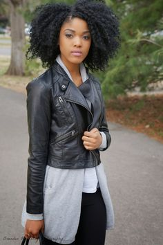 So spring has been pretty much non existent these last couple of days, but I was not going to let the weather sto. Natural Hair Twist Out, Natural Hair Styles, Twist Outs, Afro Hairstyles, Cobalt Blue, Leather Jacket, Couples, Pretty, Projects