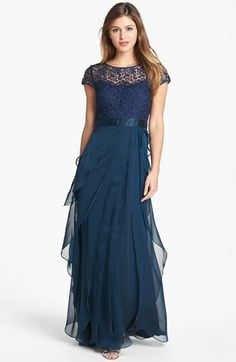 Adrianna Papell Layered Chiffon & Lace Gown (Regular & Petite)   Nordstrom - would be ok if not long?