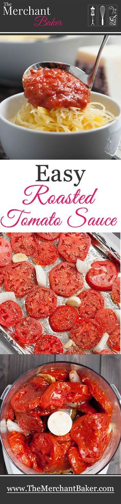 Easy Roasted Tomato Sauce. Thick sliced fresh tomatoes are roasted with garlic, onion, olive oil and herbs for a fresh and flavorful tomato sauce.