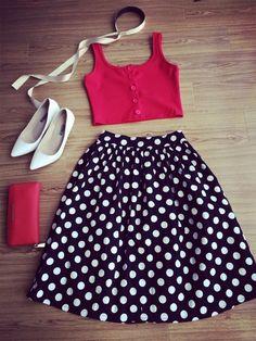 Dot Print Pleated Elastic Black Skirt