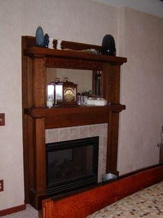 Arts and crafts craftsman bungalow, Master bedroom. Antique fireplace mantel, Home Exterior Design
