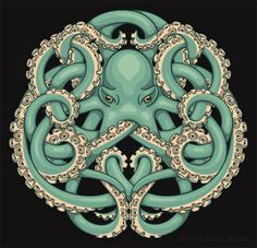 """fhtagn-and-tentacles: """" OCTOPUS EMBLEM by Jada Fitch T-shirt and various prints available at CafePress """" Octopus Tattoos, Octopus Art, Octopus Design, Octopus Images, Sailor Jerry, Cthulhu, Illustration Photo, Celtic Knot Designs, Muster Tattoos"""