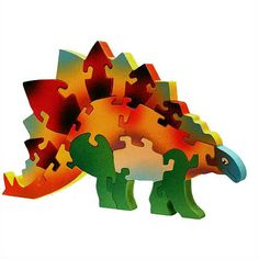 Wooden Stegosaurus Dinosaur Puzzle | Caribbean Puzzles USA