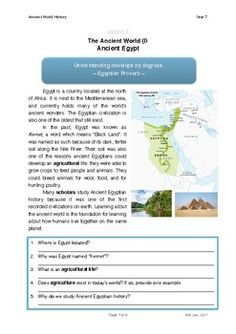 In this lesson, students will be introduced to Ancient Egypt. They will learn about the key periods in Ancient Egyptian history as well as fun facts. Students are encouraged to link concepts from the past with concepts in the modern world. For able students, it is suggested that teachers encourage them to engage in guided research either