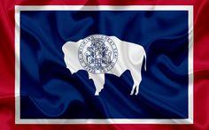 Descargar fondos de pantalla Wyoming Estado de la Bandera, banderas de los Estados, de la bandera del Estado de Wyoming, estados UNIDOS, estado de Wyoming, de seda azul de la bandera, escudo de armas del estado de Wyoming