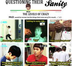Infinite's level of sanity --> Hoya = Mild