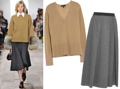17Foolproof Sweater-and-Skirt Combos to Wear This Fall | InStyle.com Neutral + Neutral: An all-neutral ensemble isn't so boring when you create a beautiful silhouette, as seen at Michael Kors. Look office-ready in a boxy sweater (Rag & Bone, $255; otteny.com) and a luxe midi wool skirt (Weekend Max Mara, $225; matchesfashion.com).