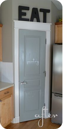 painting the pantry door love this colour