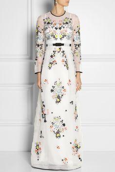 Erdem|Caldwell embroidered silk-organza gown|NET-A-PORTER.COM