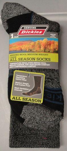 DICKIES Mens 6-12 All Season 1 pair Crew Socks New Black Merino Wool #Dickies #Athletic